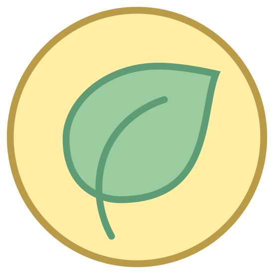 Organic Food icon. Logo is a complete circle. Inside of the circle is one single leaf used to represent that the food is natural. The leaf also represents that the food does not contain any processed ingredients.