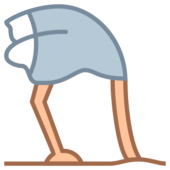 Ostrich Head in Sand icon. An ostrich head in the sand icon is shown with an ostrich with its head down. The ostrich head would not be shown because it is buried down in the sand. However, a person can tell that it is an ostrich by the length of its legs and neck, which is long.