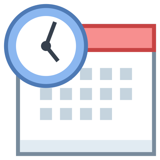Schedule icon. This is an icon for representing overtime. There is a calendar with boxes on it depicting the days of the week. There is a clock over the top-left portion of the calendar with the hands showing 4:00. The circle portion of the clock is an arrow going clockwise around the face.