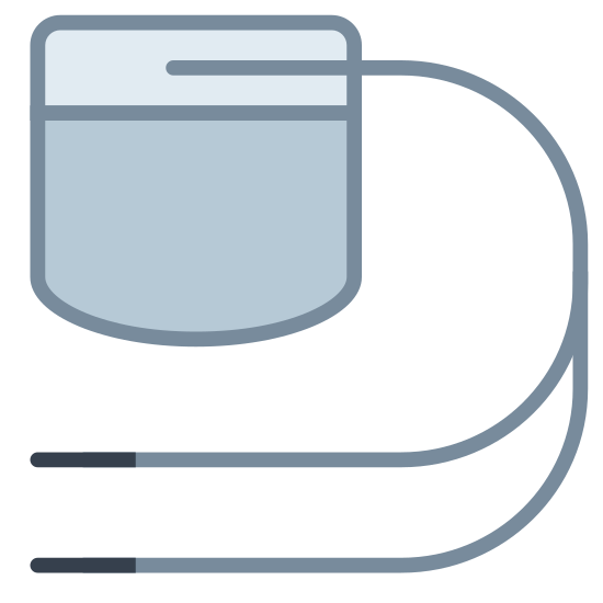 Pacemaker icon. This image of a pacemaker has a small rectangle at the top with curved edges. In the upper half of the rectangle is a horizontal line running across the whole width of the rectangle, which represents the pacemaker. Coming off of the pacemaker is a single wire which splits into two , with small buds attached to the end of each.