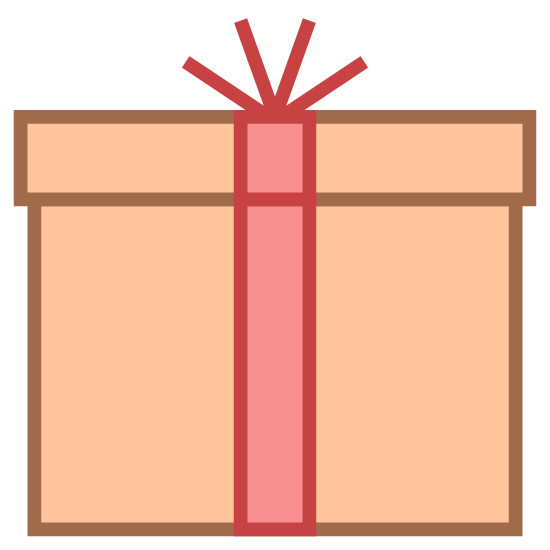 Packaging icon. It's a logo of a package or a present. It's a box with a slightly fatter lid on it. Going up from the middle bottom to top is a thin line representing ribbon and then on top are four small lines sprouting out representing a bow on top.