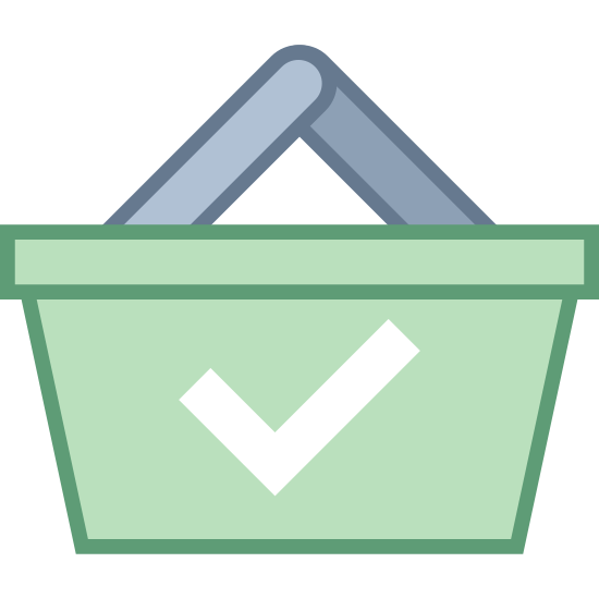 Paid icon. A paid icon is shown with a hand basket that you go shopping with, and the basket has a handle. In the center of the icon there is a check mark to show that something has been paid for.