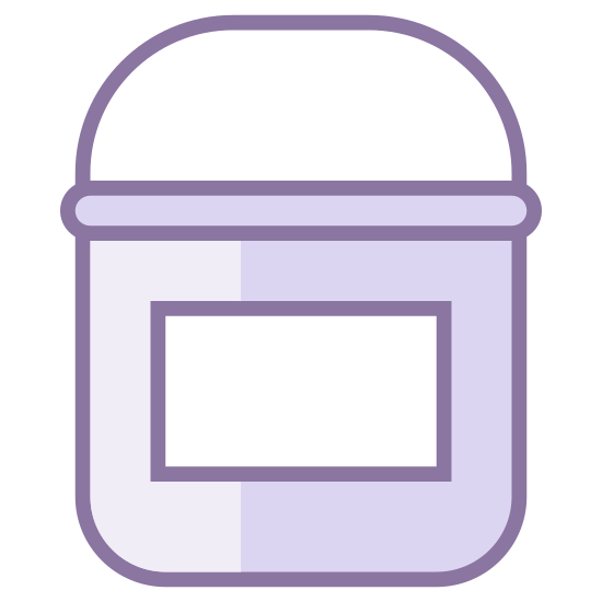 Paint Bucket With Label icon. This icon denotes a paint bucket as shown from the front; showing inside the paint bucket. It shows the handle up, and there's a rectangle on the front of the can for a label.