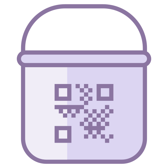 Paint Bucket With QR icon. This is an icon of Paint Bucket with QR reduced to an image of a bucket with a barcode on it. The barcode is centered on the middle of the bucket. There is a handle for the bucket as well.