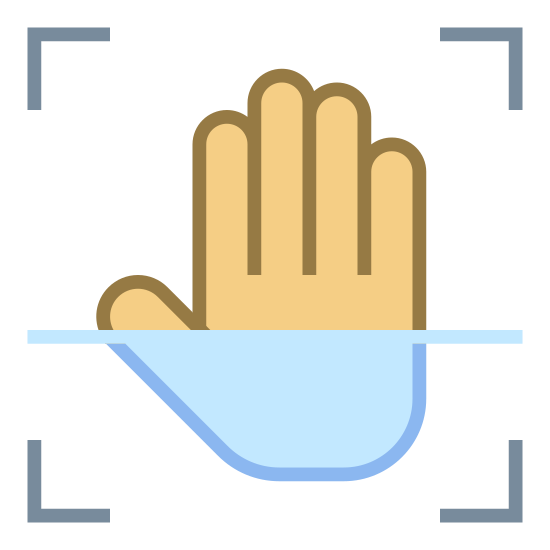 Palm Scan icon. This is a drawing of a hand pressed against a screen. There is a box where the hand needs to be placed and some sort of the line scanning across to the hand.
