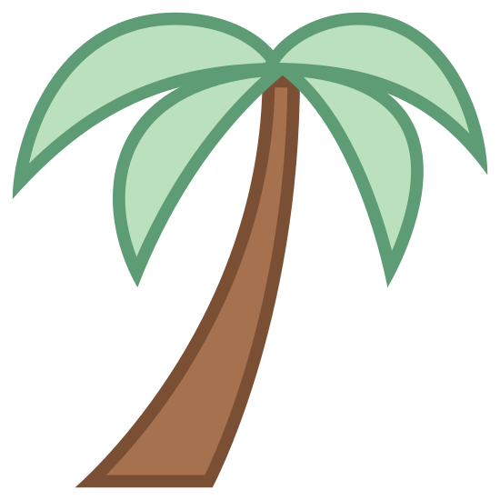 Palm Tree icon. This is a picture of a large palm tree that has four large sides to it. It doesn't have coconuts in the tree. It's trunk is long and slanted towards the bottom left.