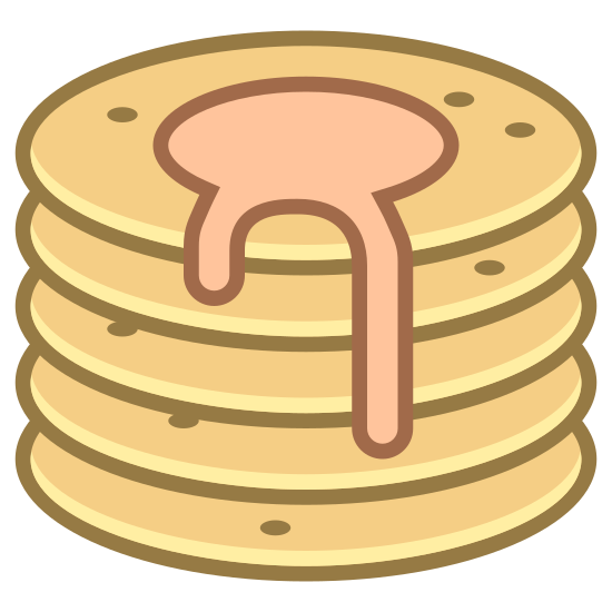 Pancake icon. This looks like a stack of four pancakes. There is a puddle of syrup on top of the pancakes, dripping down the side.