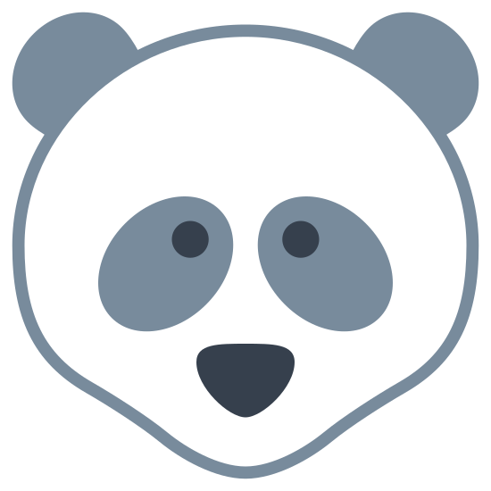 Panda icon. A bear shaped head with round ears near the top of it's head. The bear has slightly googly eyes that are close and a nose but no mouth.