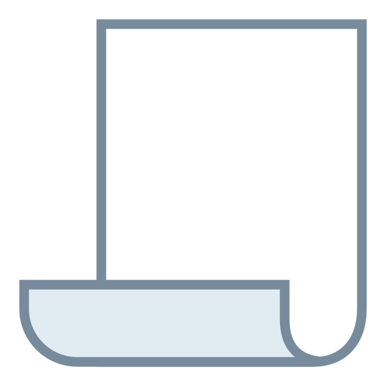 Paper icon. This icon is a rectangle, with the short lines being horizontal and the long lines being vertical. At the bottom of the rectangle then ends curl up making a scroll effect. The curve of the lines go inwards toward the front of the rectangle and show what would be the backside of the shape.