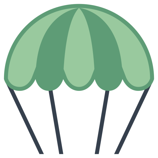 Parachute icon. A parachute icon has a shape that is the top half of a circle, and it looks similar to an umbrella. The parachute will also have little strings that come out of it because the strings are connected to the person and the actual parachute.