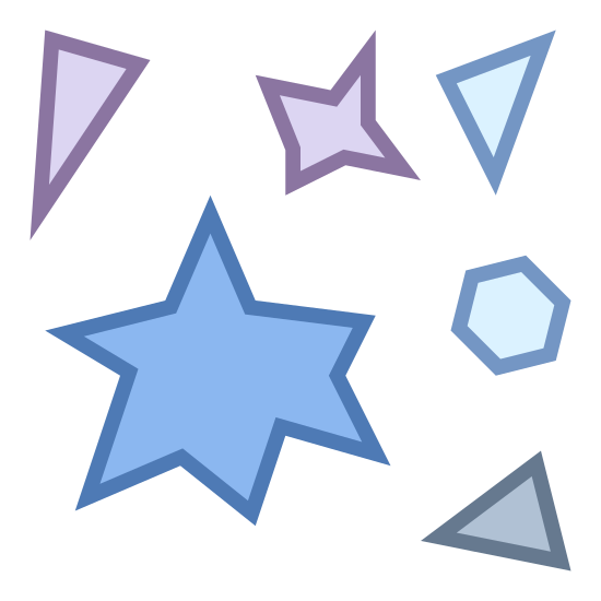 Particle icon. The image has a variety of misshapen objects arranged close together. There are three triangles with sides of varying lengths, one large star shape with six points, one small star shape with four points, and one small hexagon.