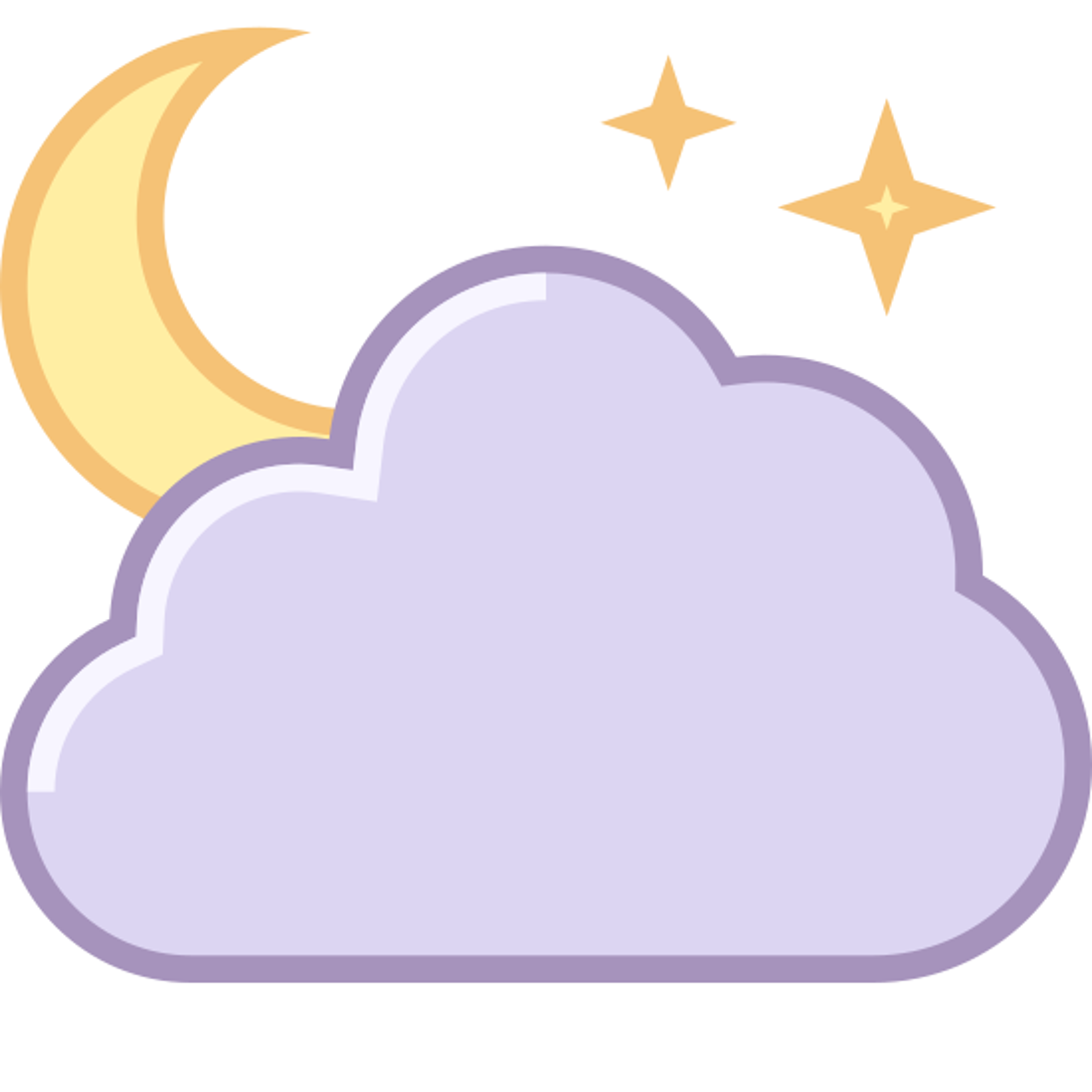 夜晚晴间多云 icon. This is a logo of a cloud made of three rounded circles. On top of the cloud is part of a gibbous moon. To the left of the moon are two cross shaped stars, one bigger than the other.