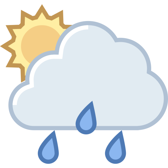 Zachmurzenie deszcz icon. A fluffy cloud is releasing angled sheets of rainwater towards the ground. Behind its billowy form, the sun peeks through, partially visible and shining brightly but half-obscured by the storm cloud in front.