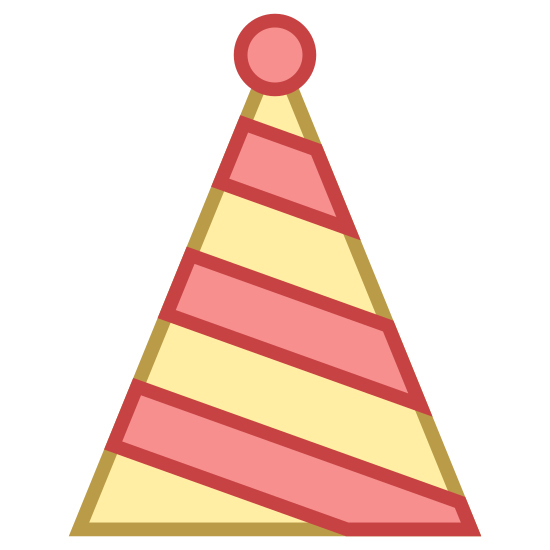 Czapka imprezowa icon. This icon represents party hat. It is a triangle with a small round circle at the top of it with four wavy lines going down the hat from side to side.