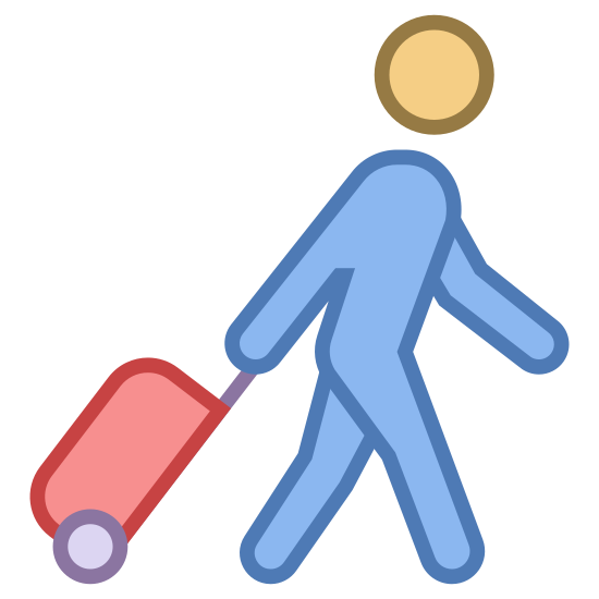Traveler icon. The Passenger with Baggage icon shows the outline of a person walking while they are rolling a piece of baggage behind them.