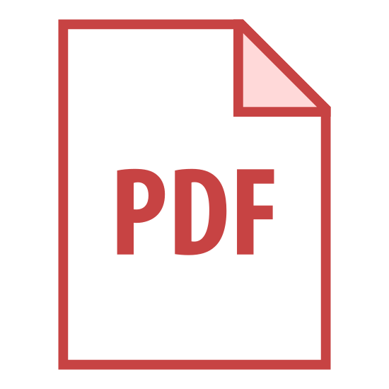 "PDF 2 icon. This is a picture of paper or note with the top right hand corner folded inwards on top of the paper. in the center are the capital letters ""PDF"". it's representing a file of some sort"
