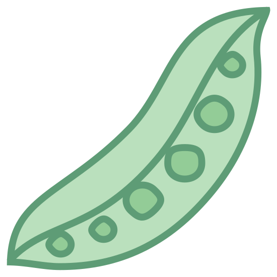 Peas icon. The image is of a long slender sleeve. The sleeve is partially opened. Inside are little circles in a line . The two ends of the object come to a point. There are a total of six circles in the sleeve.