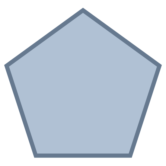 Pięciokąt icon. A pentagon icon is a shape with five lines that are connected together. There is nothing in center of the icon, but it is just a shape that has to follow a rule where it must have five sides.