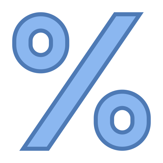 Procent icon. This is a percentage sign. There is a circle on the left that is slightly higher than the circle on the right. In between is a forward slash dividing them. This is the same symbol you would see to distinguish 1% or 2% Milk