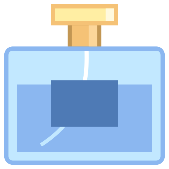 Perfume Bottle icon. It's a basic logo of a glass, rectangular shaped perfume bottle. The bottle had a horizontal line about halfway up the bottle that seems to indicate that the bottle is currently half full. On the rectangular bottle is also a smaller, rectangular label. At the top of the bottle is a smaller adapter point out where the perfume is sprayed from.
