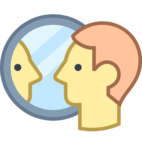 Osoba w lustrze icon. This is an image of a simplified human face. The face is looking to the right at a circular object that is showing him or her a reflection of themselves.