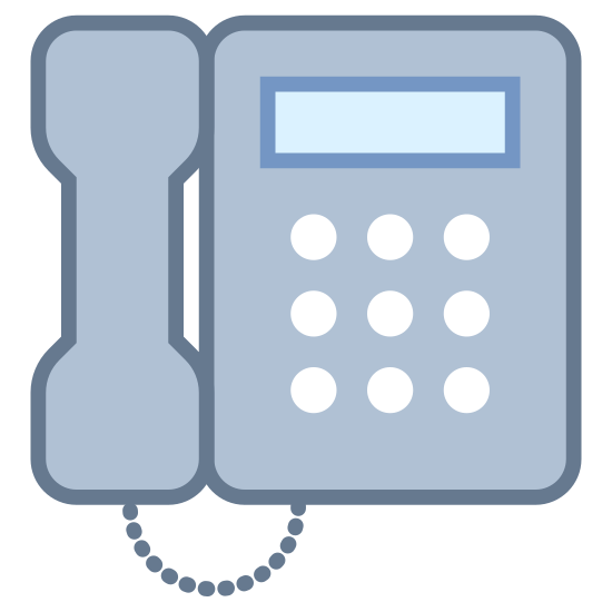 Bürotelefon icon. This icon looks just like a landline phone that you used to see in every home. It looks like it's hanging on the wall. The base is filled with small black squares to represent buttons and a rectangle to represent the screen. There is a handset on the left side connected to the base with a curved line.