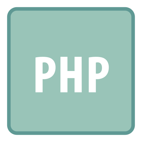 """PHP icon. It's a black unfilled square with slightly rounded corners. The radii of the rounded corners is very small.  In the center of the square there are the letters """"PHP"""" in upper case."""