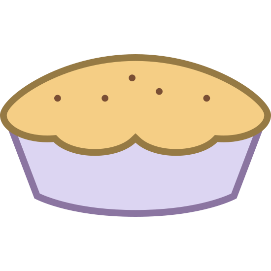 Ciasto icon. The icon is a pie in the classic sense of American pie. It appears that a crust with three slits in the top is with a round pie pan. You cannot see what is inside the pie as the filling is obscured by the crust.