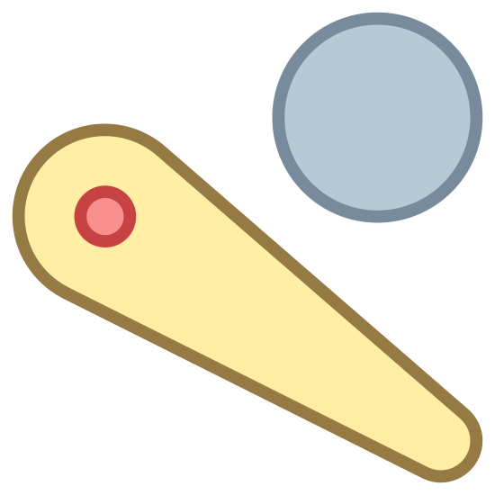 Pinball icon. This logo looks like the little thing that hits the ball in a pinball arcade game.  It is pointing down and to the right and has a circle in it.  The ball is just above it and has a line drawn through a bit of it.