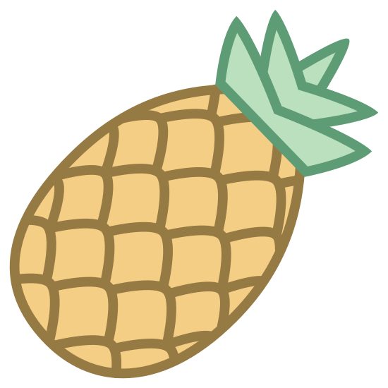 Abacaxi icon. It's a logo of a pineapple.  At the is the rounded and pointy leaves of the pineapple that are layered multiple times.    The pineapple itself has a repetitive pattern of diamond shapes.