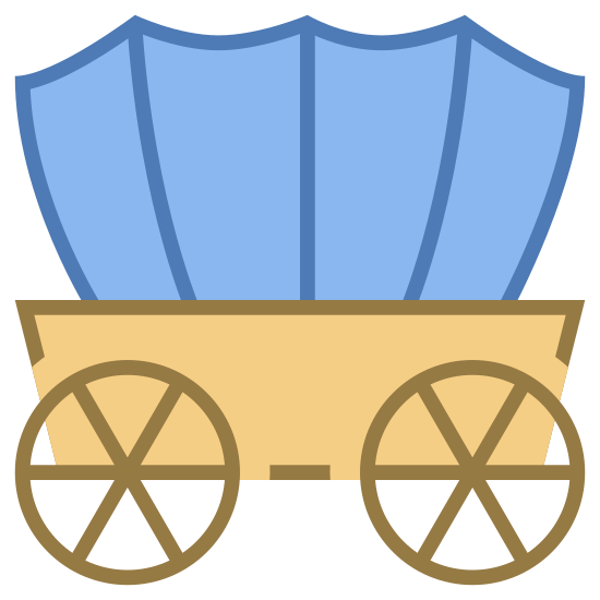 先锋旅行车 icon. This icon represents a wagon. It includes two wheels with a top that looks rounded. The wheels have spokes. It is from the side view with the top different from the bottom.