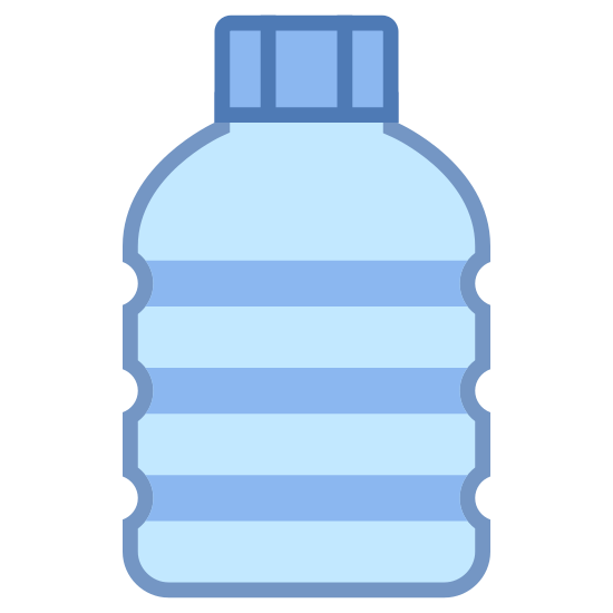 Plastic icon. This is an image of what appears to be a plastic bottle.  The bottle is facing upwards and has three grooves in its side.  The plastic bottle also has a cap on top of it.