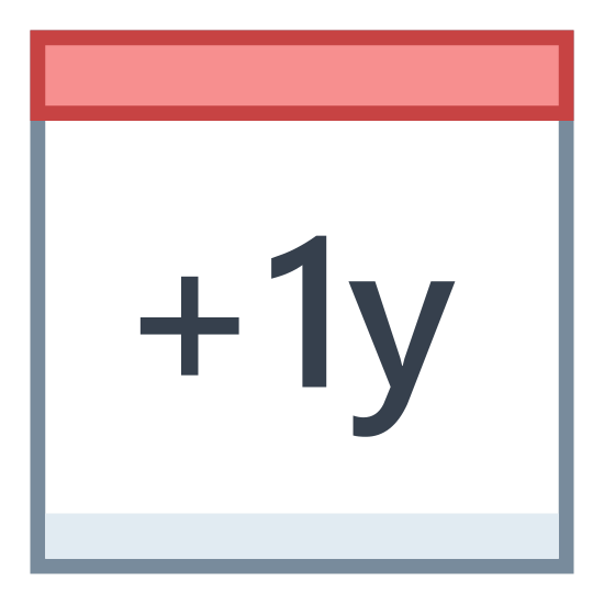 """Plus 1 Year icon. It's what looks like a small, desktop calendar, with two rings on the top to change the date. It has """"+ 1y"""" meaning add one year, written on the front of the calendar, to be an icon representing the addition of a year for other calendar purposes."""