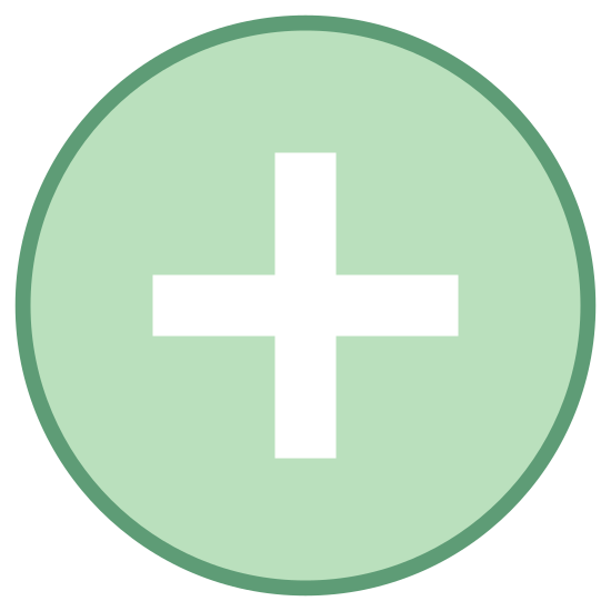 Плюс icon. It is a logo with a circle.  Inside of the circle is a plus sign that is directly in the middle.  There are no other shapes or lines that are a part of this icon.