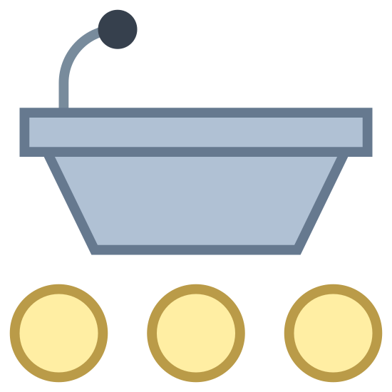Lecture icon. It is a picture of podium. Only the top half is drawn with a small microphone. In the bottom half, instead of the podium, there are small circles indicating there is an audience. There are seven circles in total.