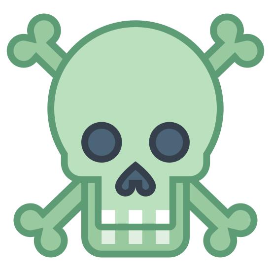 Gift icon. It is an icon of a skull the two bones in an x. The skull has blank eyes with a upward arrow as a nose. There are three squares for teeth. The skull is overlapping with the bones behind it.