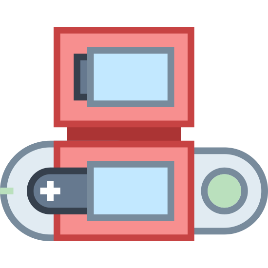 Pokedex icon. This is a picture of a Nintendo handheld video game system. it has the traditional plus sign-shaped arrow pad as well as a box at the top for a game to go into.