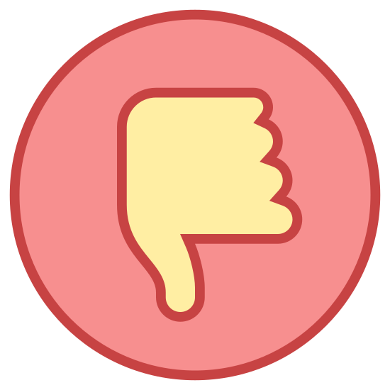 Unlike icon. The icon is a picture of the logo for poor quality. The icon is in the shape of a circle. The circle; however, has a hand inside of it. The hand inside of the circle, is giving the thumbs down gesture.