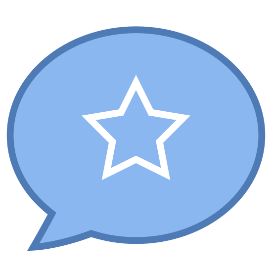 Popular icon. It's a logo to represent something is a popular topic. The logo is a talk bubble with a 5 pointed star in the middle. The talk bubble its self is a circle with a pointed tail at the bottom left side of the bubble.