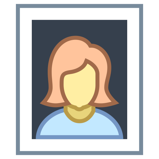 Portret icon. The icon Portrait is a medium sized square. Inside the square is the outline of a person. Around the outside of the square is a larger square with the lines not being straight.