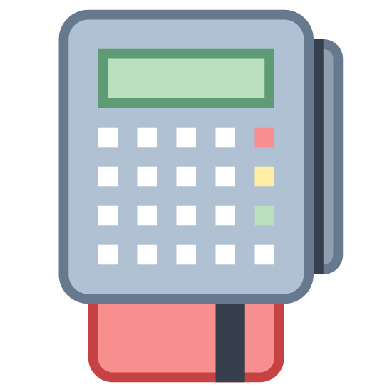 POS-Terminal icon. The icon portrays a credit card machine reader. The machine itself is rectangular with rounded corners and nine buttons. Beneath the machine is a credit card being inserted into the bottom of the reader.