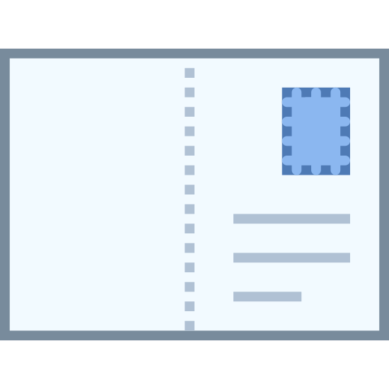 Postcard icon. The icon is shaped like a horizontal rectangle with a dotted line at its center. At the top right corner is a small square shape. Under the square at the bottom center are three horizontal lines, one on top of each other.