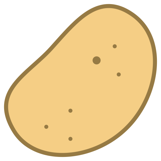 Potato icon. There is a leaf like/chip like object. there are 3 tops at the top and there are 3 dots at the very bottom. it is shaped like a pear.
