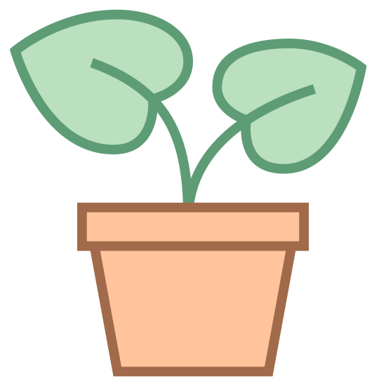 Potted Plant icon. This is a picture of a potted plant. the plant is growing and has two leaves, one a bit larger than the other. the pot it's in is very plain with a base and rim. the leaves are facing opposite directions (left and right).
