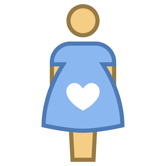 """W ciąży icon. The icon """"pregnant"""" is a stick figure of a female with a circle that contains a heart in the middle. That is to say, there's a circle on top of a shape that's wearing a skirt, and that shape contains a circle with a heart in it."""