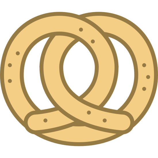 Pretzel icon. It is an icon of a pretzel. It looks like one piece of string that is looped inside of itself. Both ends come out of the middle and go in opposite directions at the bottom.