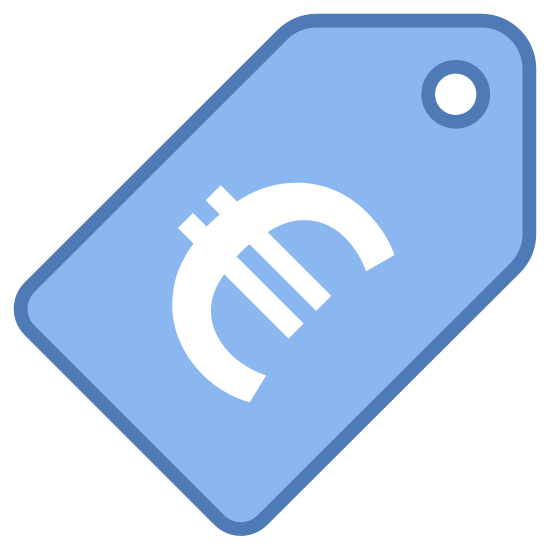 Price icon. A price tag with the symbol for the Euro on it. It's a rectangular shape with a pointed top that has a hole in it, presumably for hanging it off of things.