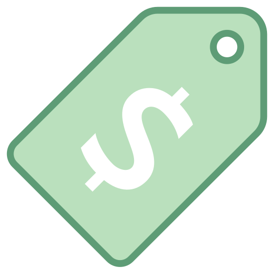 Przywieszka z ceną USD icon. A price tag with the US Dollar sign printed in the center in large font. The tag is rectangular with the top of it tapered to a point, with a hole at the top for hanging. The tag is white with black font.
