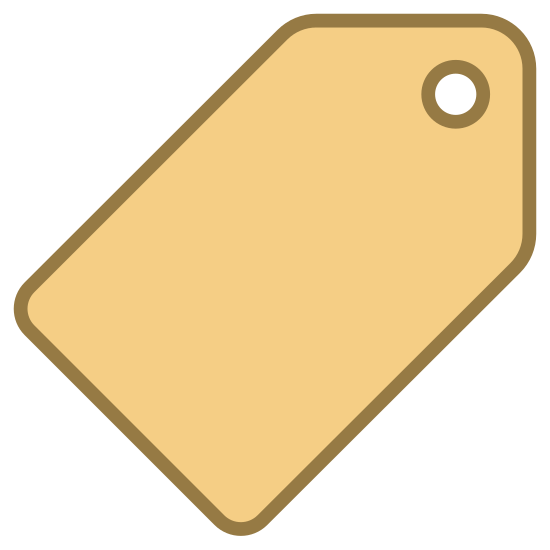 Metka z ceną icon. This is a very simple icon of a price tag. The tag is standing on one corner. It's made of up a rectangle shape with rounded corners that tapers to a triangular point on one side. There is a circle inside of this triangular point that represents where one might tie a string to hang the tag on something.