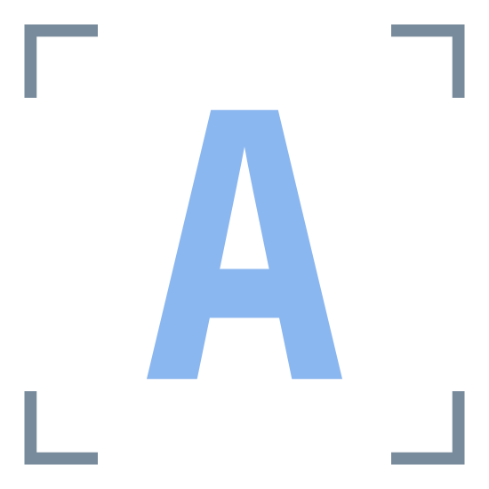 "OCR icon. Two straight lines meet at a 90 degree angle. There are four sets of these; one with the legs pointing down and right; one with the legs pointing left and down; one pointing up and left; one pointing right and up; to create a frame. Inside the frame is the letter ""A""."